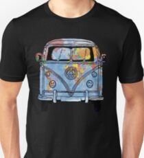 World Traveler Bus Peace Sign Symbol Happy Face Headlights Slim Fit T-Shirt