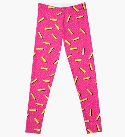 Pink Retro 80s Pattern Leggings