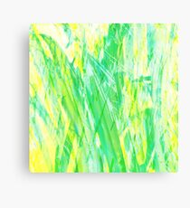 Grassy Abstract in Yellow Green Aqua White Canvas Print