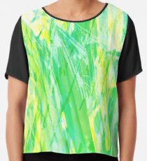 Grassy Abstract in Yellow Green Aqua White Chiffon Top