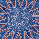 Blue Red and White Kaleidoscope Pattern by taiche