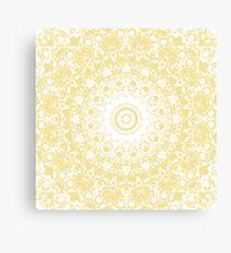 White Lace Mandala on Sunshine Yellow Background Canvas Print