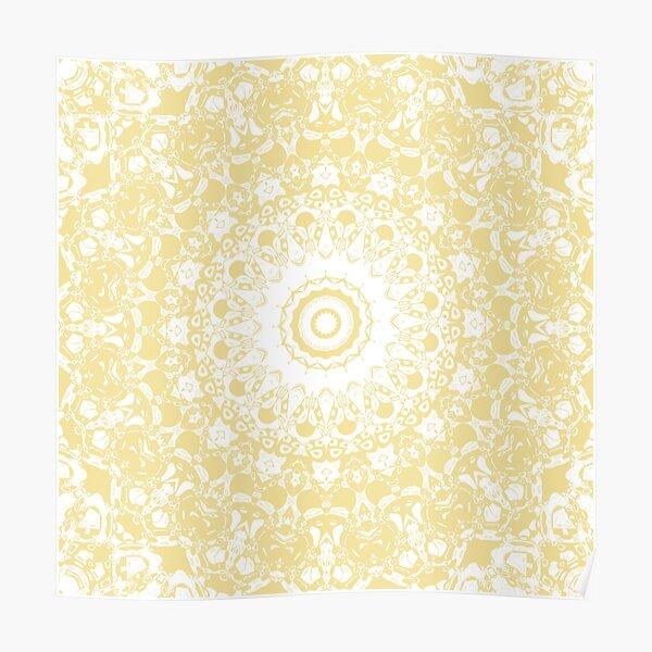 White Lace Mandala on Sunshine Yellow Background Poster