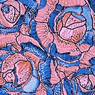 Blush Blue Roses Flowers Abstract Illustration  by oursunnycdays