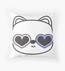 Cool Kitty Cat with Heart Sunglasses Throw Pillow
