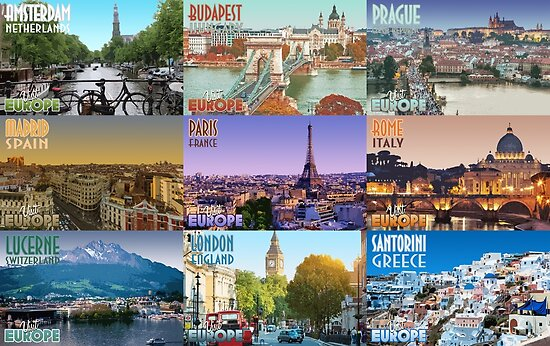 Visit Europe Travel Poster Collage Poster By Topnotchvisuals Redbubble
