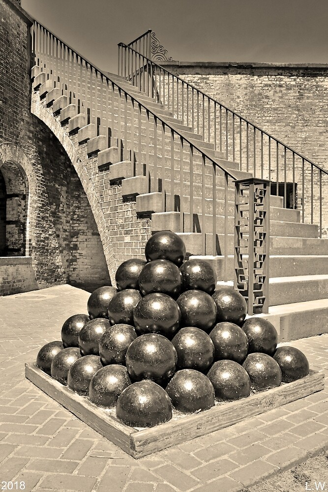 Cannon Balls And The Stairs At Fort Macon North Carolina Black And White Vertical by LisaWootenPhoto