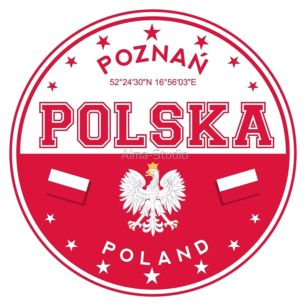 Poland, Poznan, Posen, Polska, Polish city, Poland sticker, circle by Alma-Studio