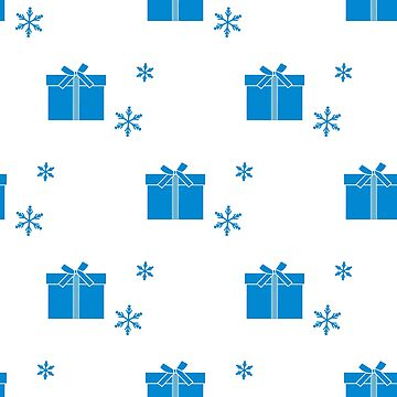 Seamless pattern with gift boxes and snowflakes. by aquamarine-p