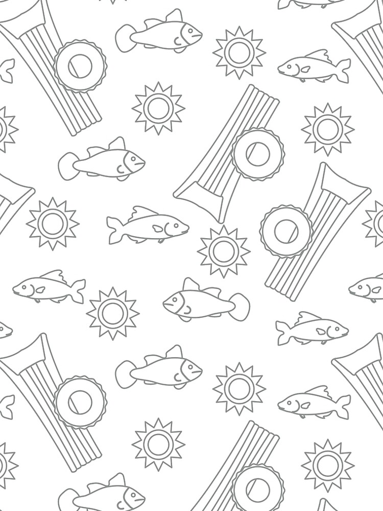 Pattern with fish, sun, inflatable mattress. by aquamarine-p