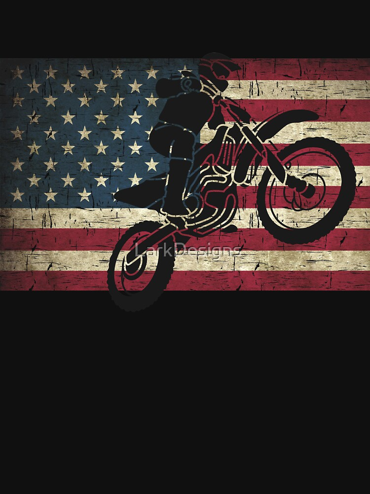 Dirt Bike Black on Distressed American Flag in Colour by LarkDesigns