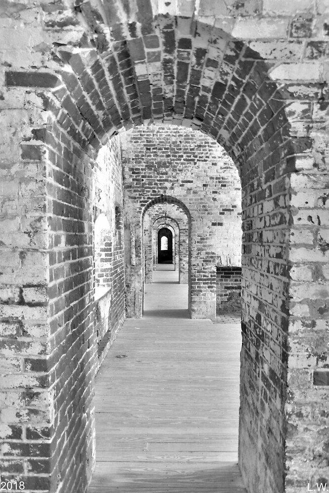 The Arches At Fort Macon North Carolina Black And White by LisaWootenPhoto