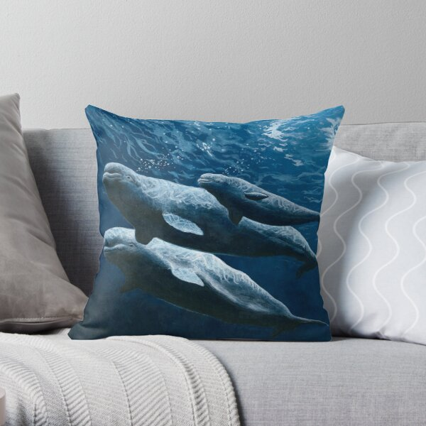 Belugas of the St. Lawrence Throw Pillow