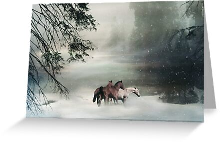 Horses in the Snow Holiday Christmas Image Free Horses by Stephanie Laird