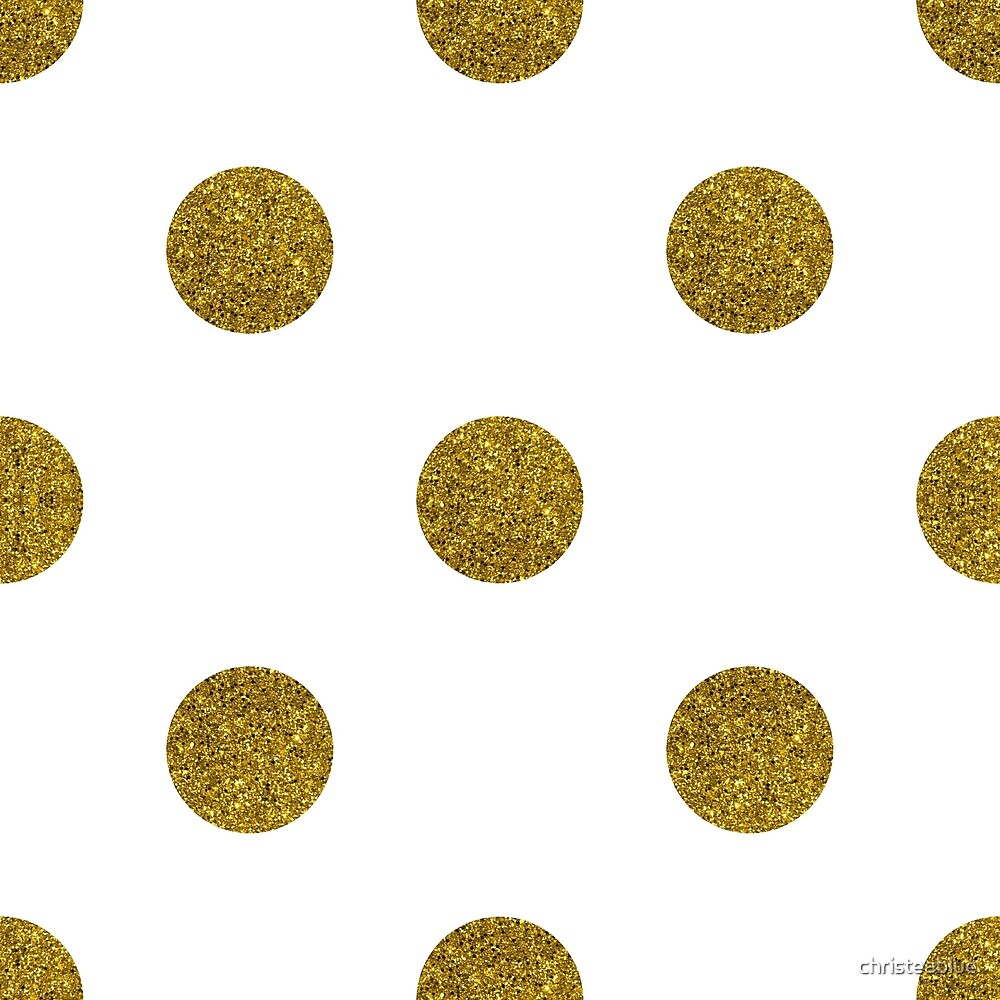 Gold Glitter Polka Dots on White Background by christeablue