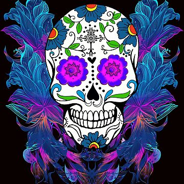 Blue Purple Floral Sugar Skull Day Of The Dead by Atteestude