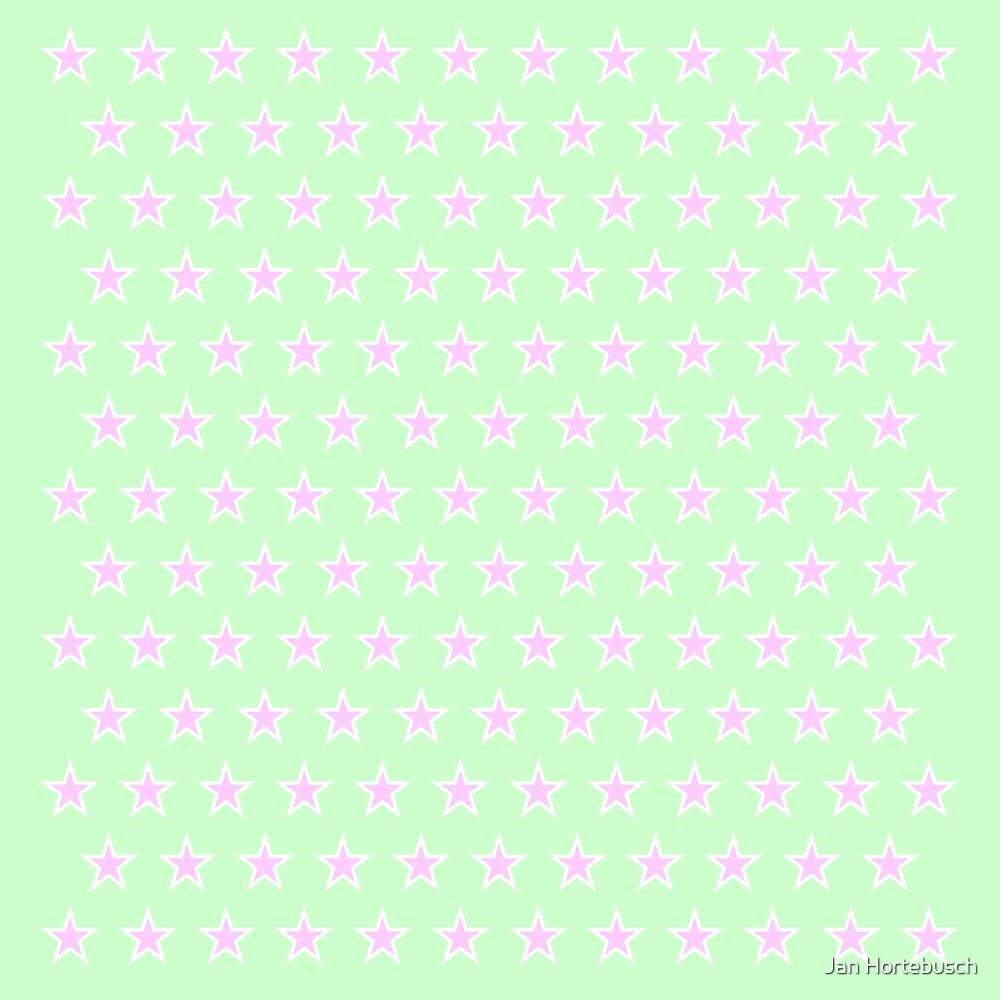 Little Stars Pink on Green by Jan Hortebusch