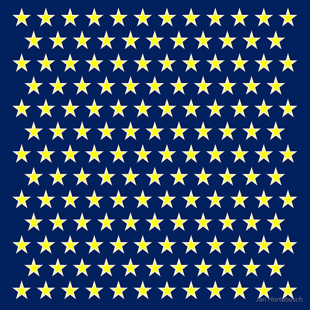 Little Stars Yellow on Blue by Jan Hortebusch