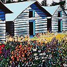OUTBUILDINGS IN SUMMER CARD by Alison Newth