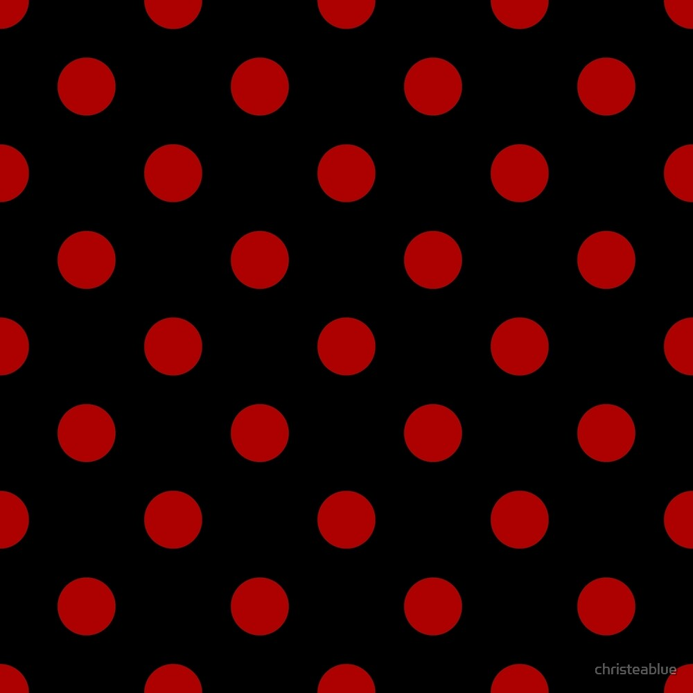Red Polka Dots on Black Background by christeablue