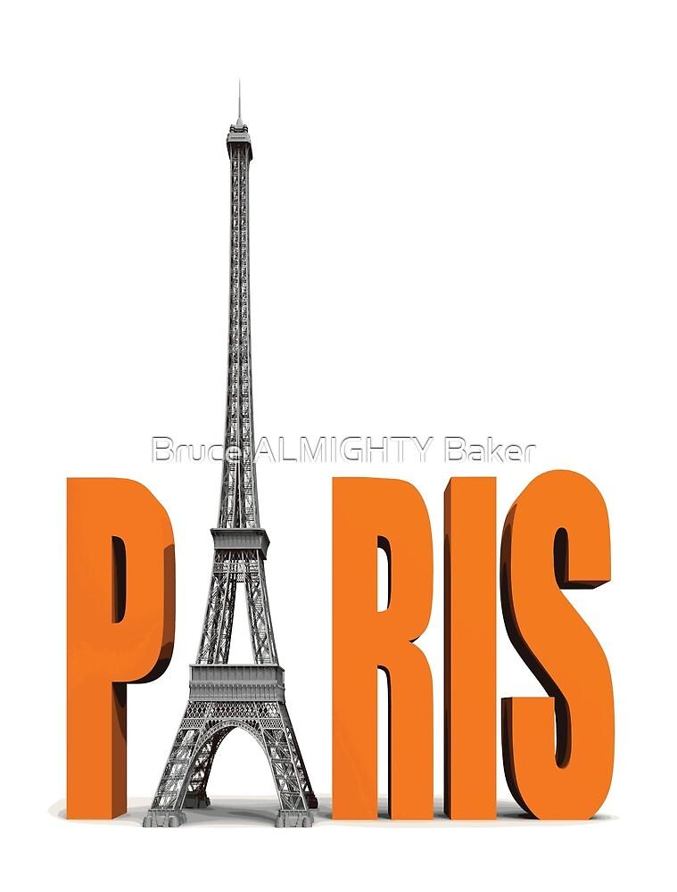 PARIS ORANGE Pop Art by Bruce ALMIGHTY Baker