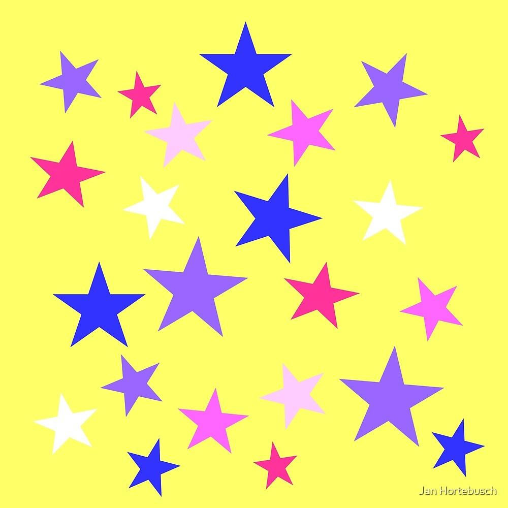 Colorful Stars on Yellow by Jan Hortebusch