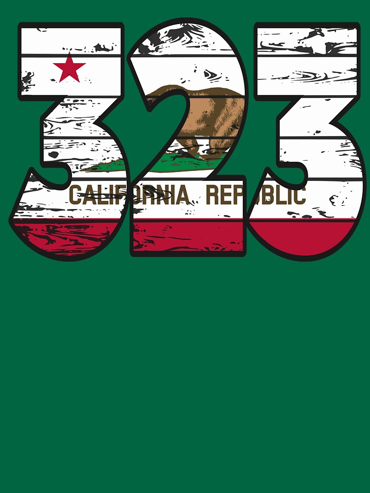 LOVE THAT  323 LIFE - YOUR FAVORITE AREA CODE WITH A HEAVY WOOD OVERLAY DISTRESS by NotYourDesign