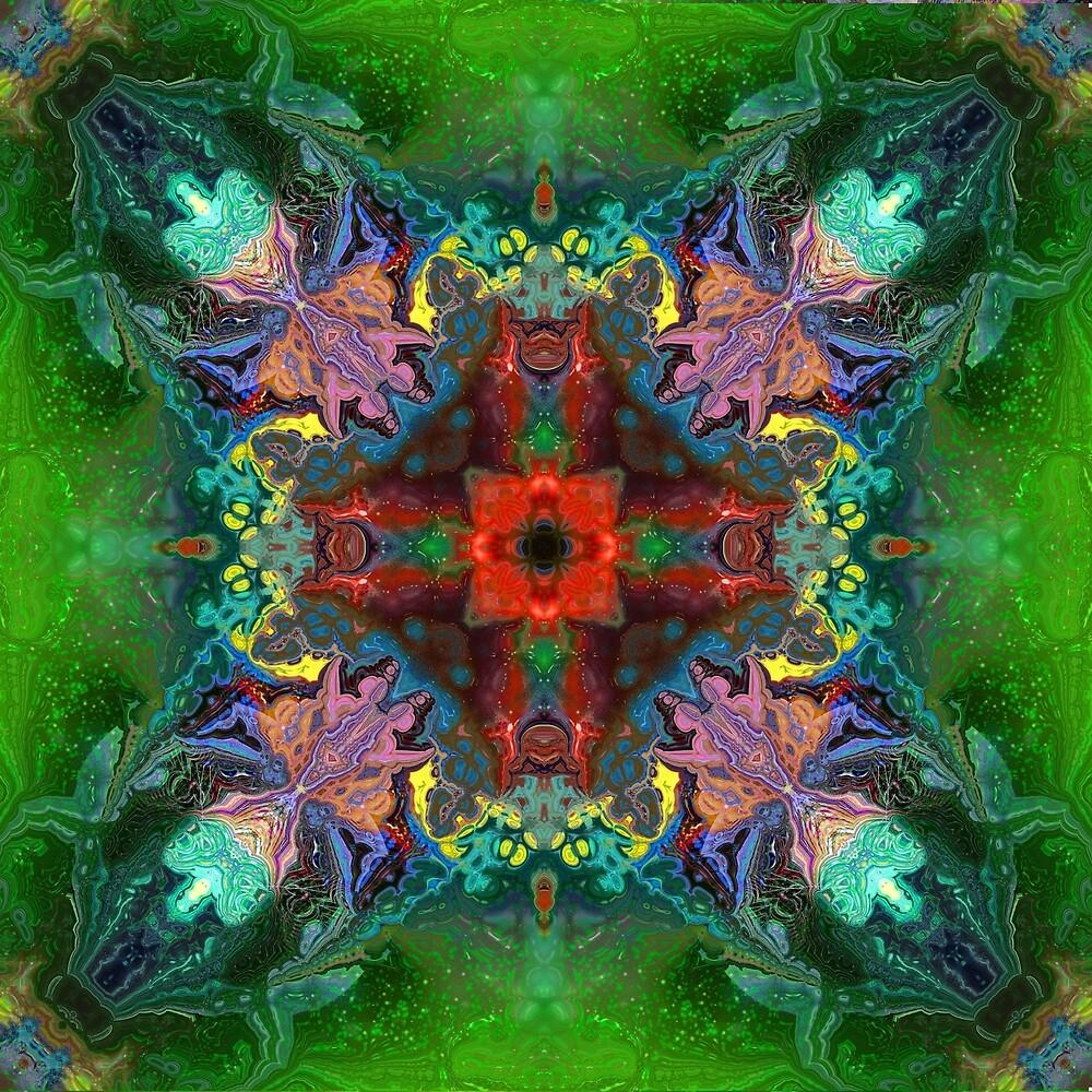 Geometric Red- Green.Folk Ornament by Natalia  Rudzina