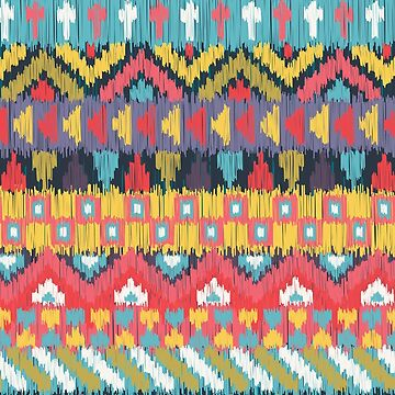 Bright and Cheerful Ikat Geometric Pattern by noondaydesign