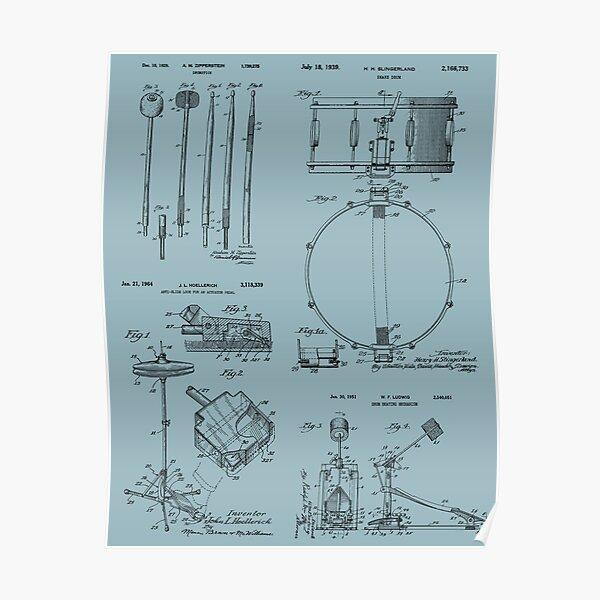 Drummer Kit Vintage Patent Print Poster