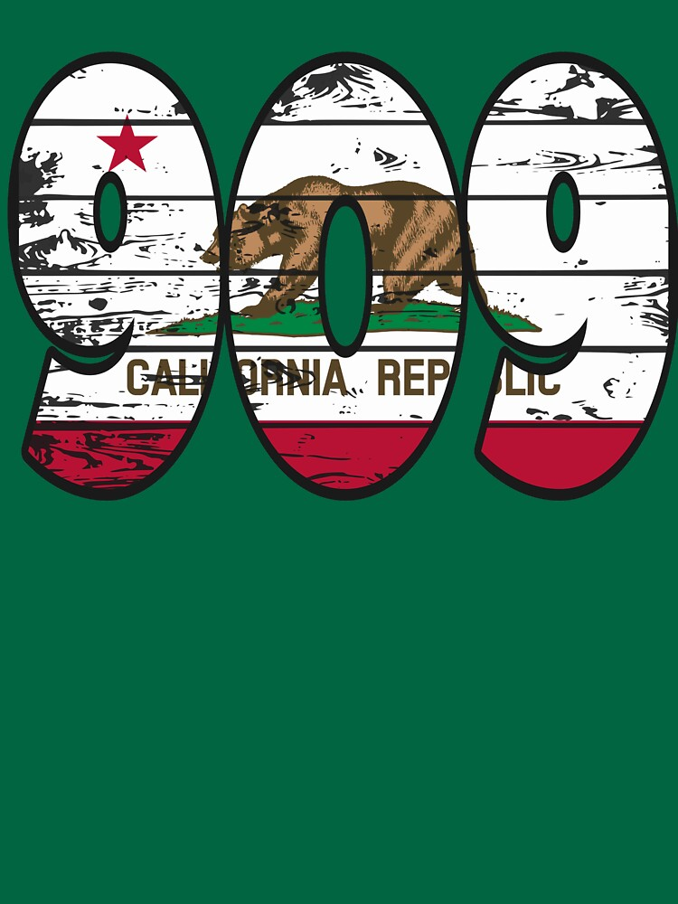 LOVE THAT  909 LIFE - YOUR FAVORITE AREA CODE WITH A HEAVY WOOD OVERLAY DISTRESS by NotYourDesign
