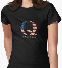 QAnon WWG1WGA Q Anon Great Awakening MAGA USA Flag Women's Fitted T-Shirt