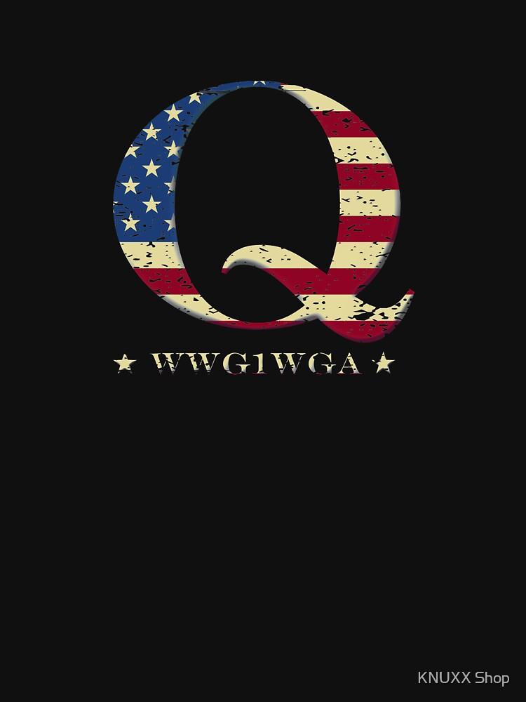 QAnon WWG1WGA Q Anon Great Awakening MAGA USA Flag by zot717