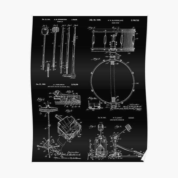 Drummer Gift Vintage Patent Print Drum Set Poster