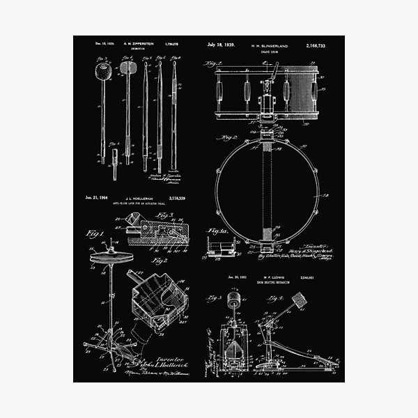 Drummer Gift Vintage Patent Print Drum Set Photographic Print