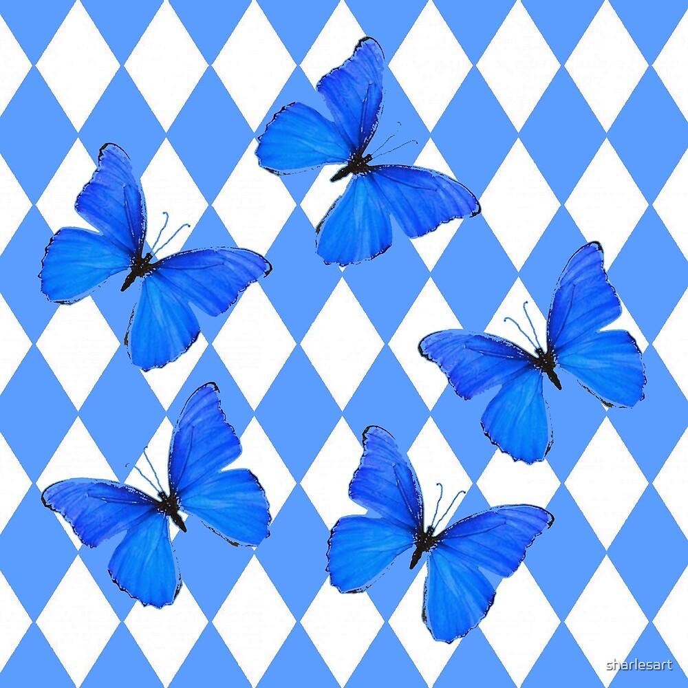 BLUE BUTTERFLIES & ARGYLE PATTERNS by sharlesart