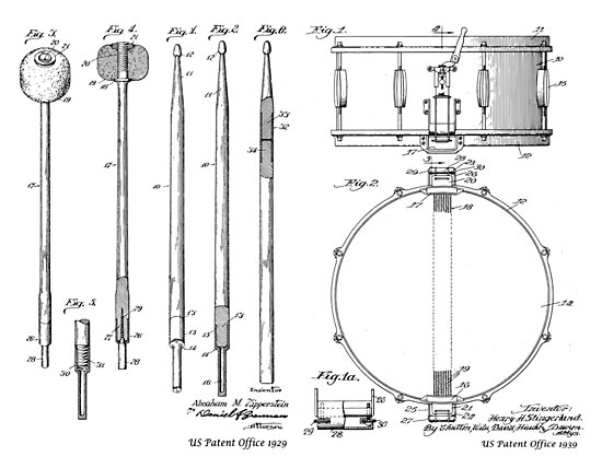 Drumsticks and Snare Drum Patent Prints by MadebyDesign
