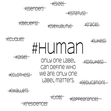 #human, one label - black letters by ElleD