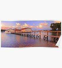 Boatsheds On The Swan At Sunset   Poster