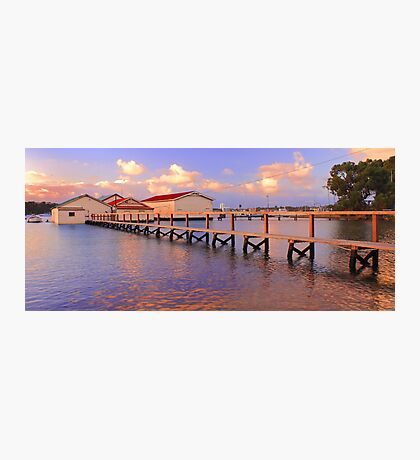 Boatsheds On The Swan At Sunset   Photographic Print