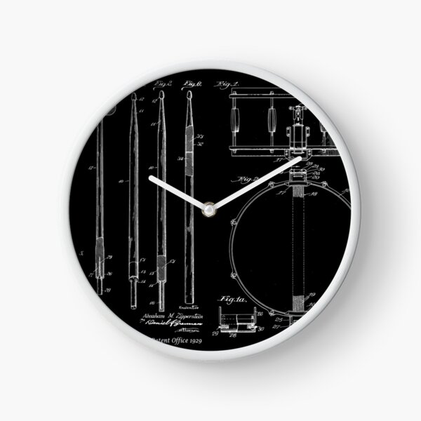 Awesome Gift For The Drummer Vintage Patent Prints Drumsticks and Snare Drum Clock
