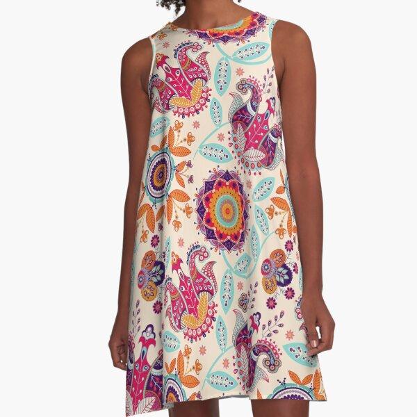 Buntes Blumenpaisley-Muster A-Linien Kleid