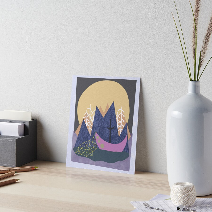 Mountain moonlit night Art Board Print