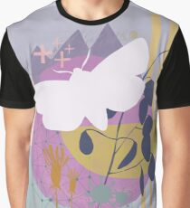 Moth flying over mountain moon Graphic T-Shirt