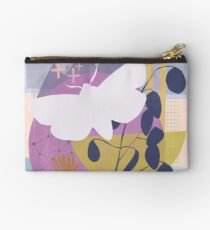 Moth flying over mountain moon Zipper Pouch