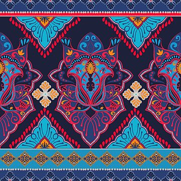 Indian abstract medallion pattern.Boho and gypsy style. Ethnic paisley ornament. by MilaOkie