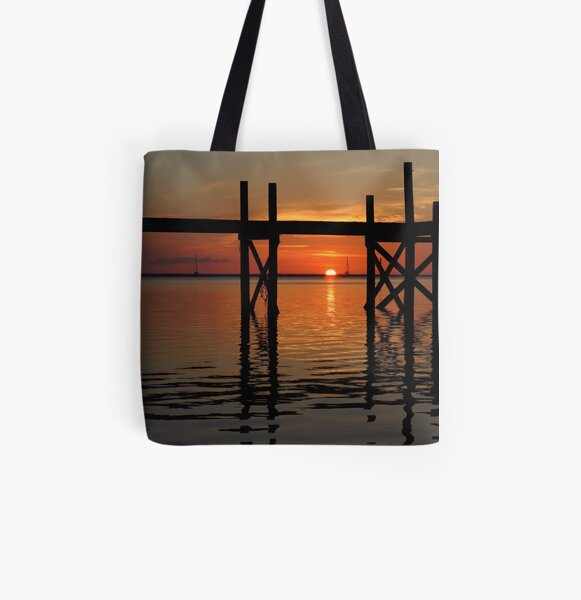 Other Shore Dock at Sunset  All Over Print Tote Bag