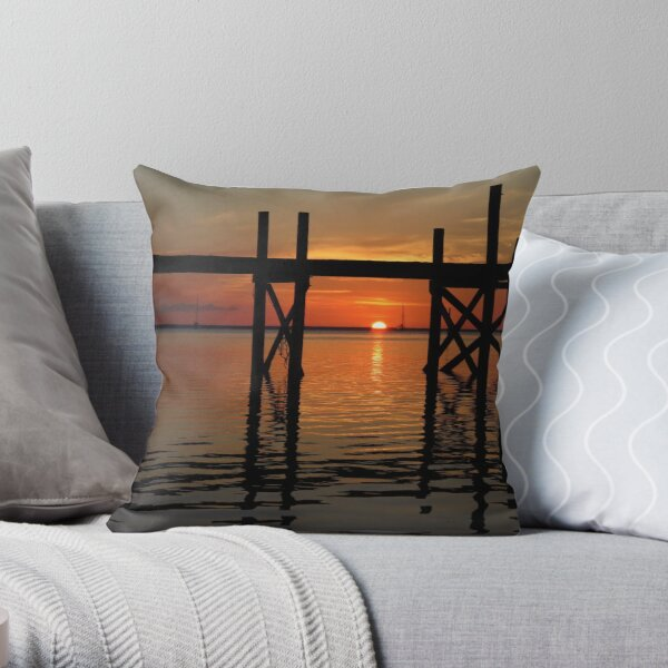 Other Shore Dock at Sunset  Throw Pillow