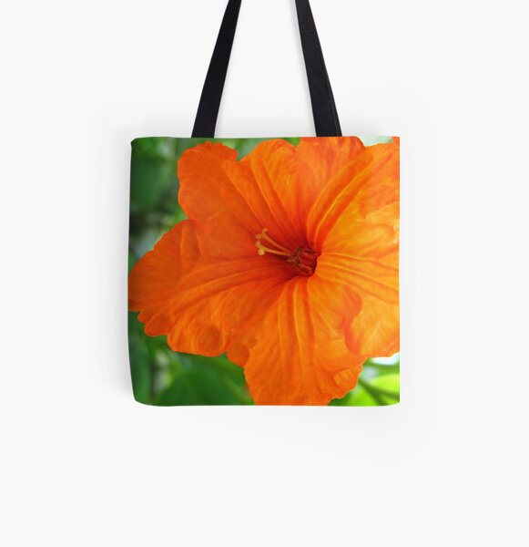 Orange Flower All Over Print Tote Bag