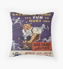 Vintage poster - Workplace safety Throw Pillow